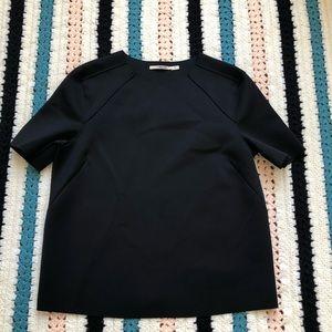 J Brand Scuba Paneled Neoprene Short Sleeve Top